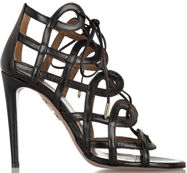 Aquazzura x Olivia Palermo Cutout Lace Up Leather Sandals