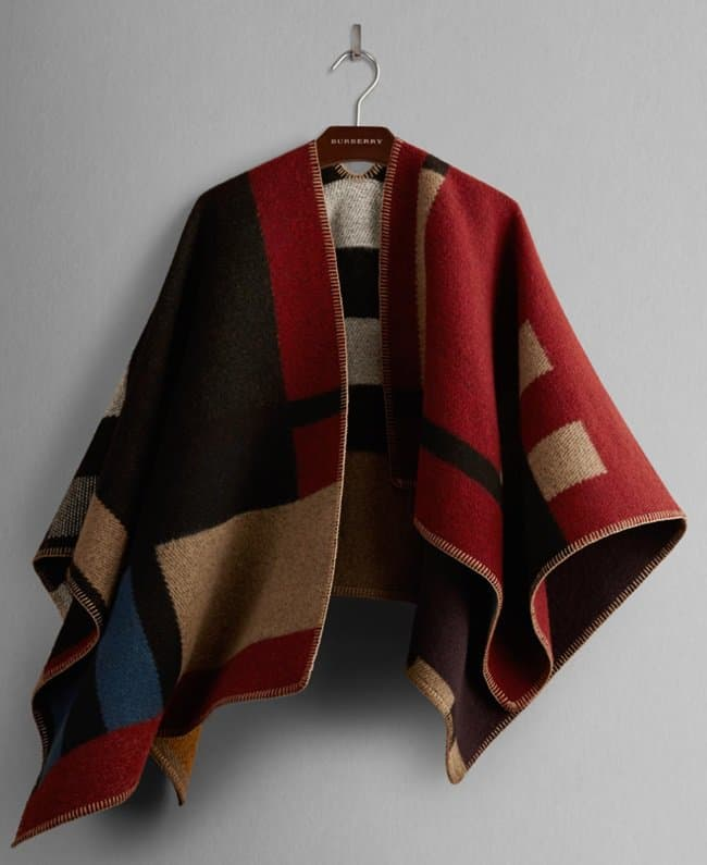 burberry colorblock check blanket poncho wrap