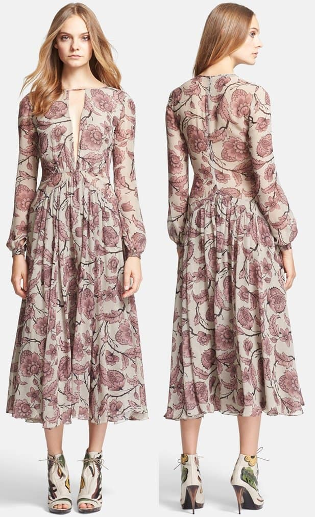 Burberry Prorsum Washed Silk Midi Dress