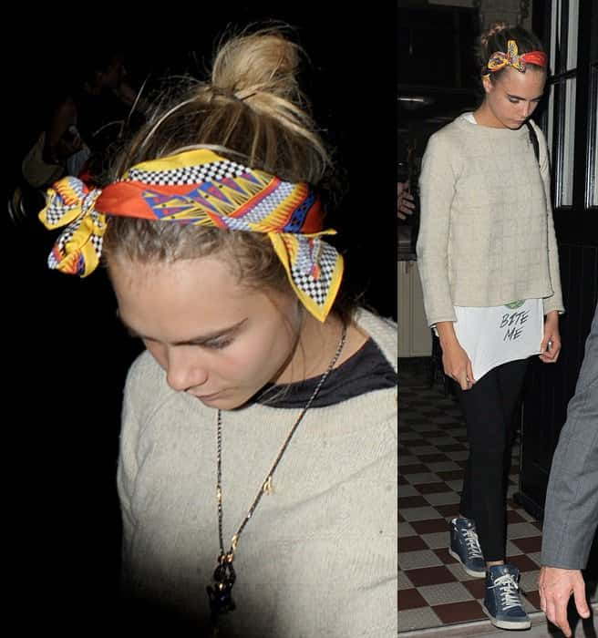 Cara Delevingne returns home at 1am
