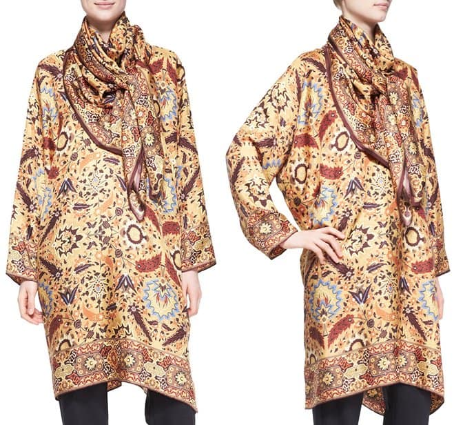 eskander collarless printed silk tunic-scarf