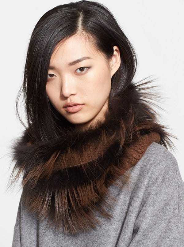 fabiana filippin genuine fox fur and cashmere snood
