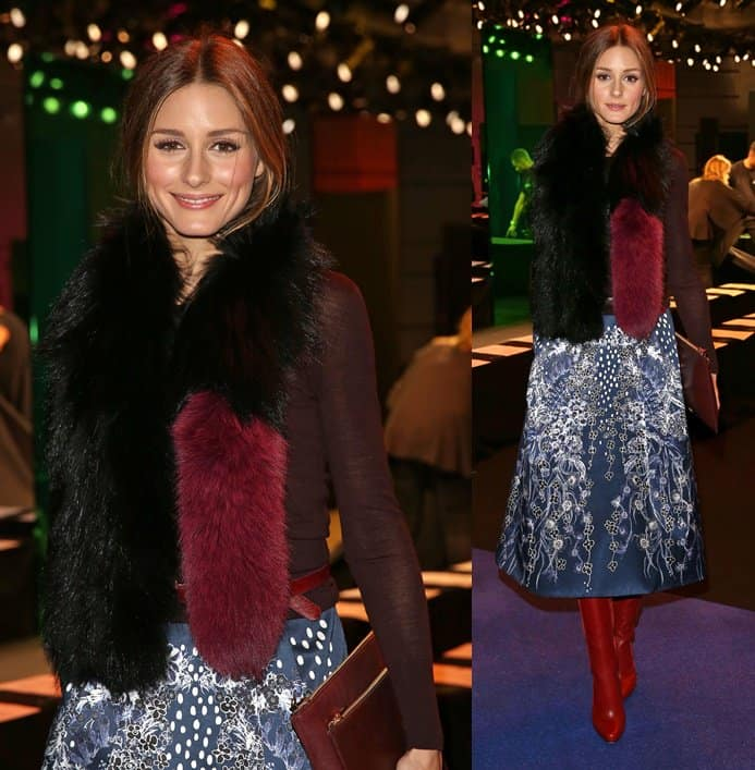 Olivia Palermo displays her impeccable style with a fur scarf while attending the Peter Pilotto Fall/Winter 2014 presentation in London during London Fashion Week on February 17, 2014