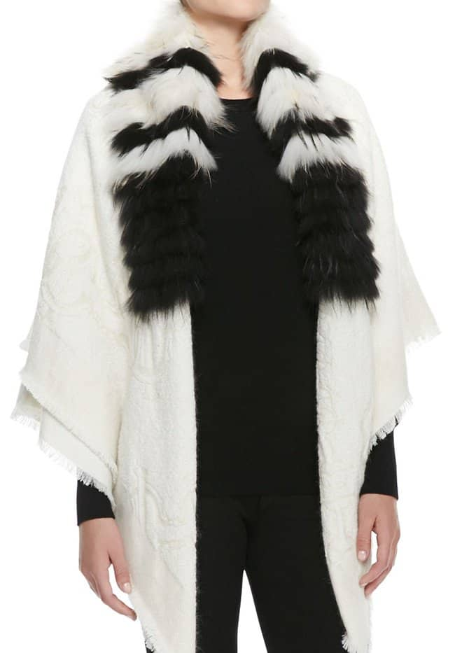 roberto cavalli striped fur collar wrap
