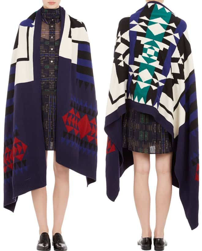 sacai luck tribal pattern blanket wrap-horz