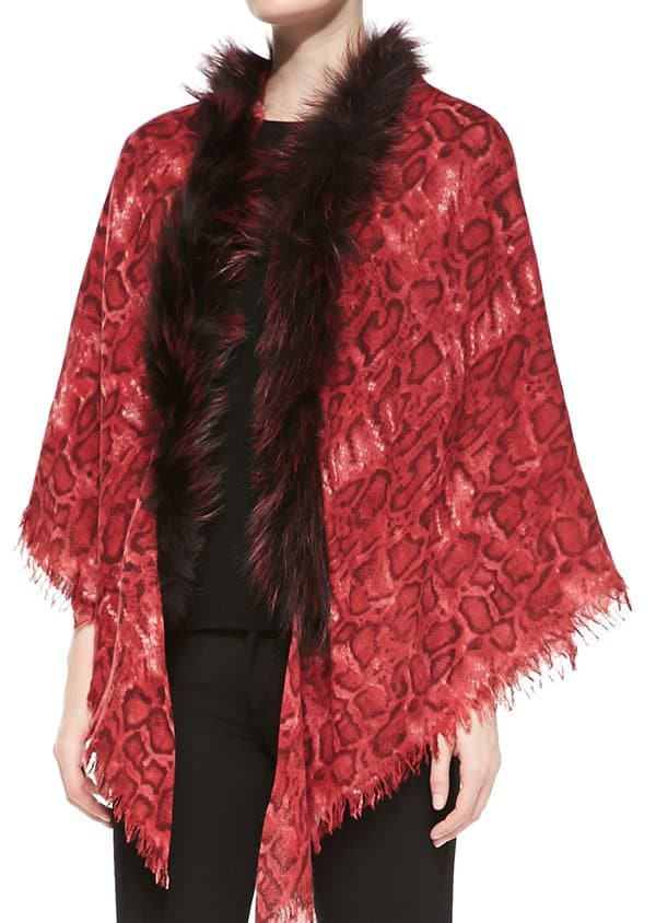 sofia cashmere snake print shawl with fur trim