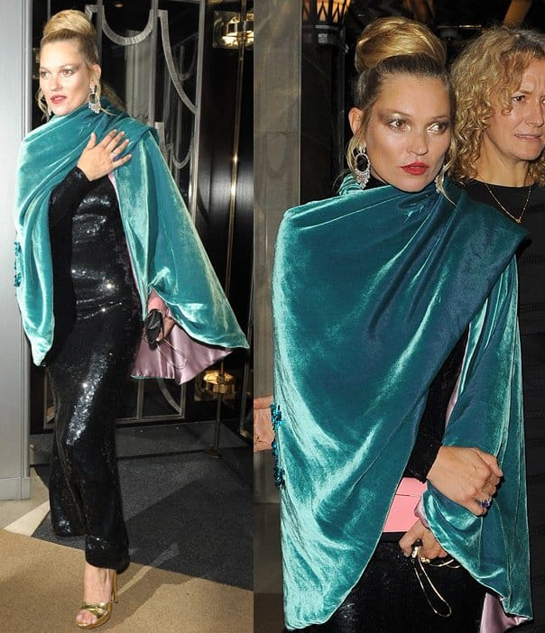 Kate Moss, Cara Delevingne and Poppy Delevingne at Claridge's hotel