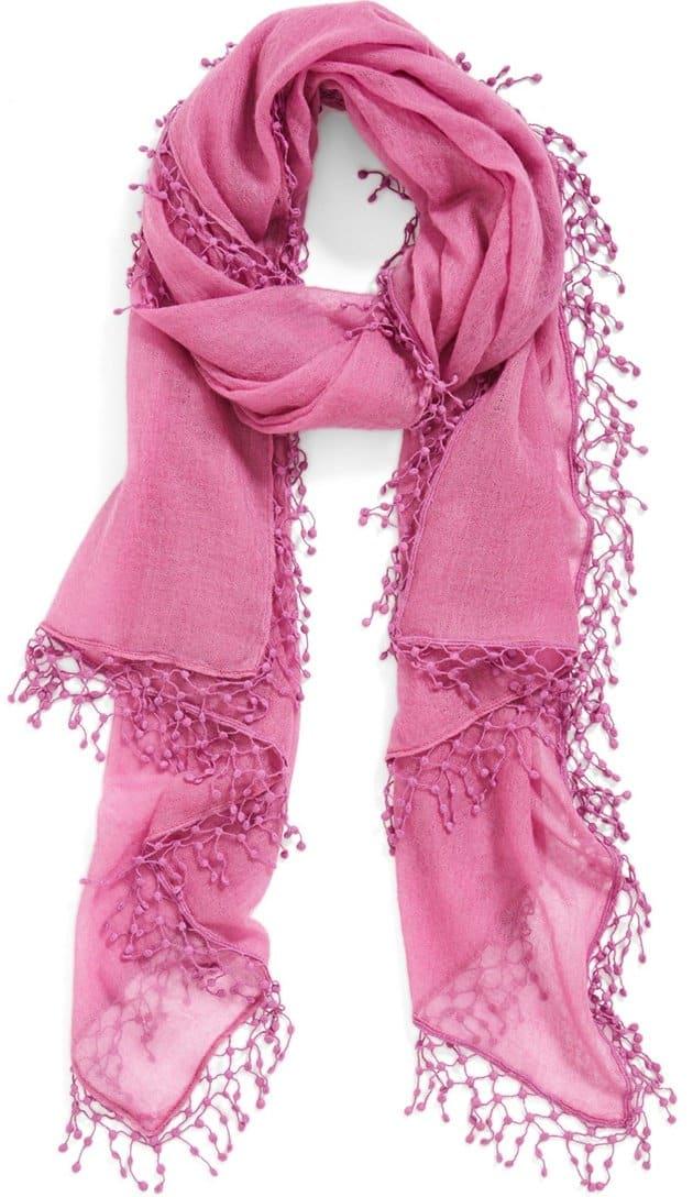 la florentina pom pom cashmere scarf