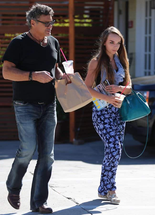 Steven Bauer and his 18 year old girlfriend, Lyda Loudan, have lunch