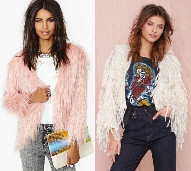 nastygal fairy floss faux fur and shaggy jackets