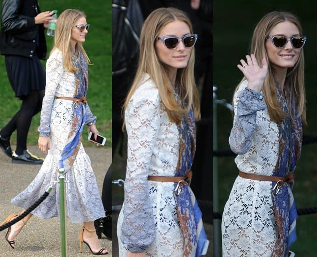 Olivia Palermo chose a more romantic-looking frock done in dip-dyed white lace, and mixed the number with a printed blue neck warmer