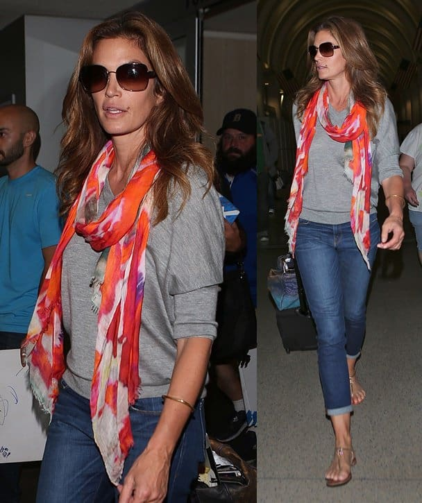 Cindy Crawford looks elegant in casual clothing as she arrives at LAX on October 6, 2014