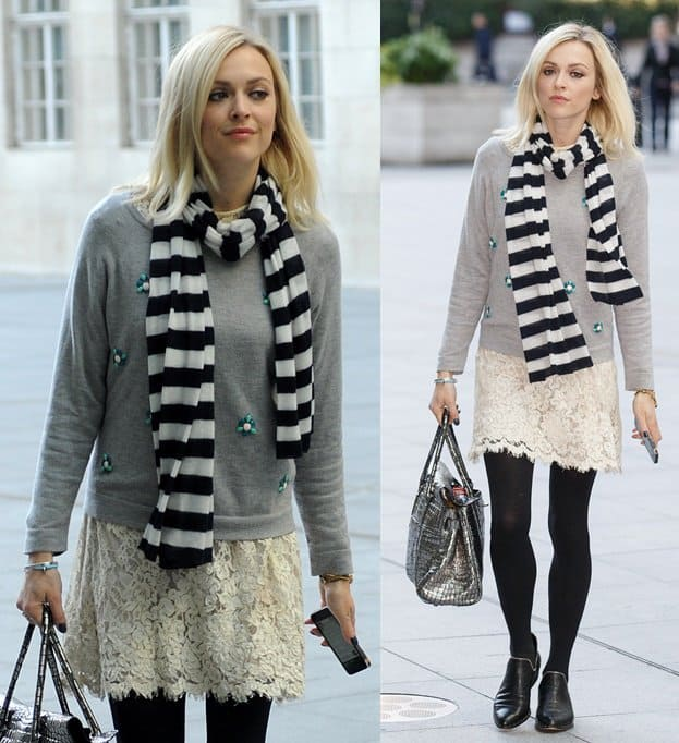 Fearne Cotton was spotted sporting an odd mix of stripes and lace while on her way to the BBC Radio 1 studios