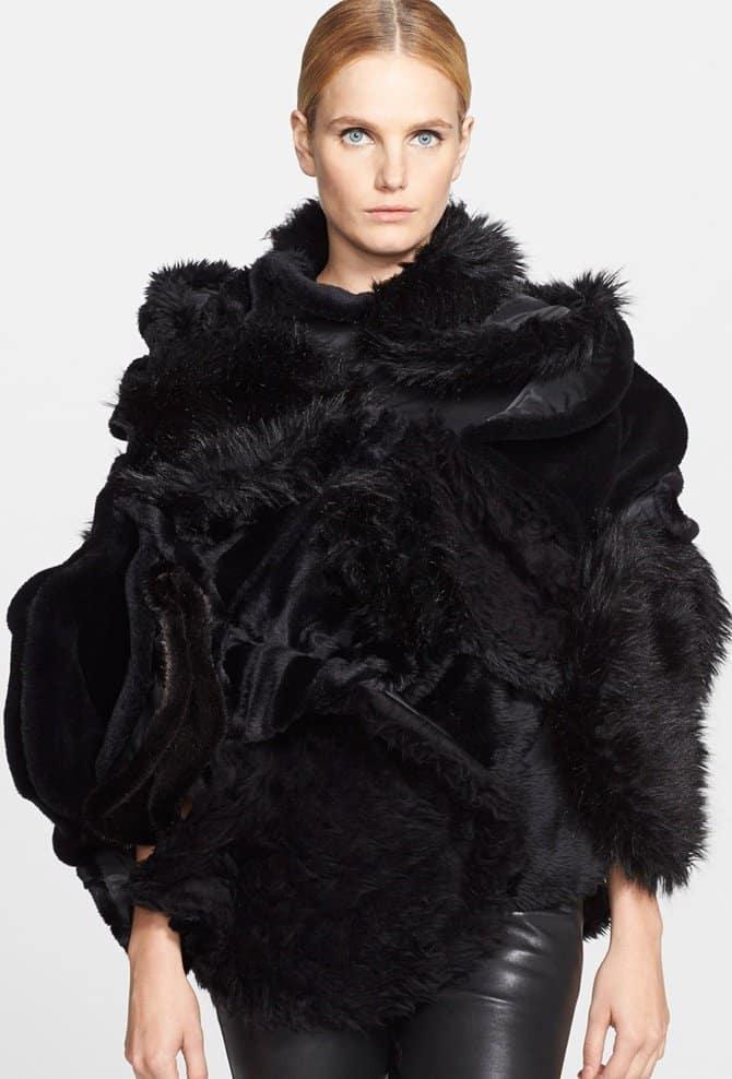 junya watanabe faux fur cape