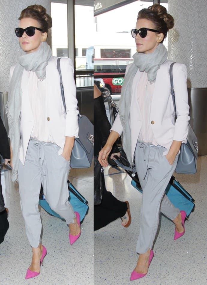 kate beckinsale gray scarf kurt geiger pumps pink lax 4-horz