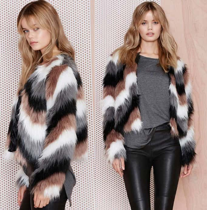 color coating faux fur jacket 2-horz