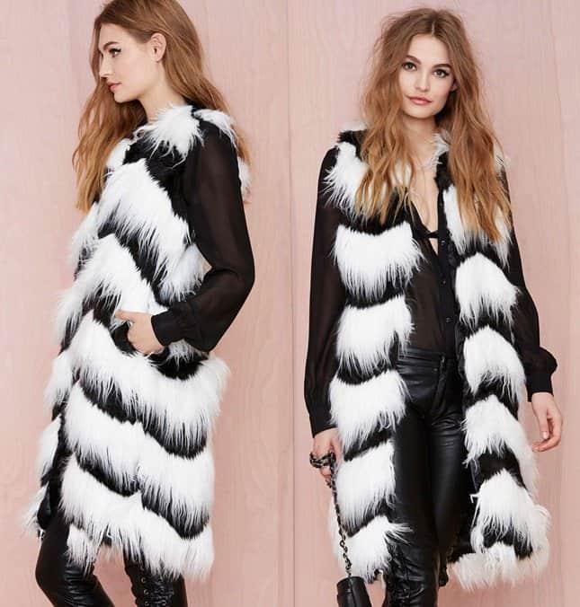 glamorous opposition faux fur vest 3-horz