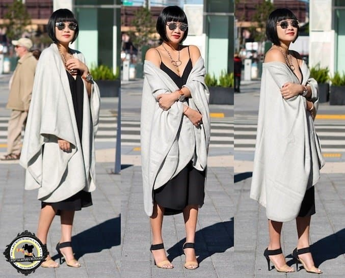 Tina styled a sexy LBD with sandals and a beautiful Cuyana cape