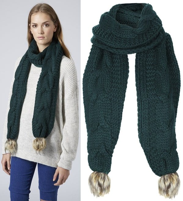topshop knitted scarf with pompom fur 2-horz