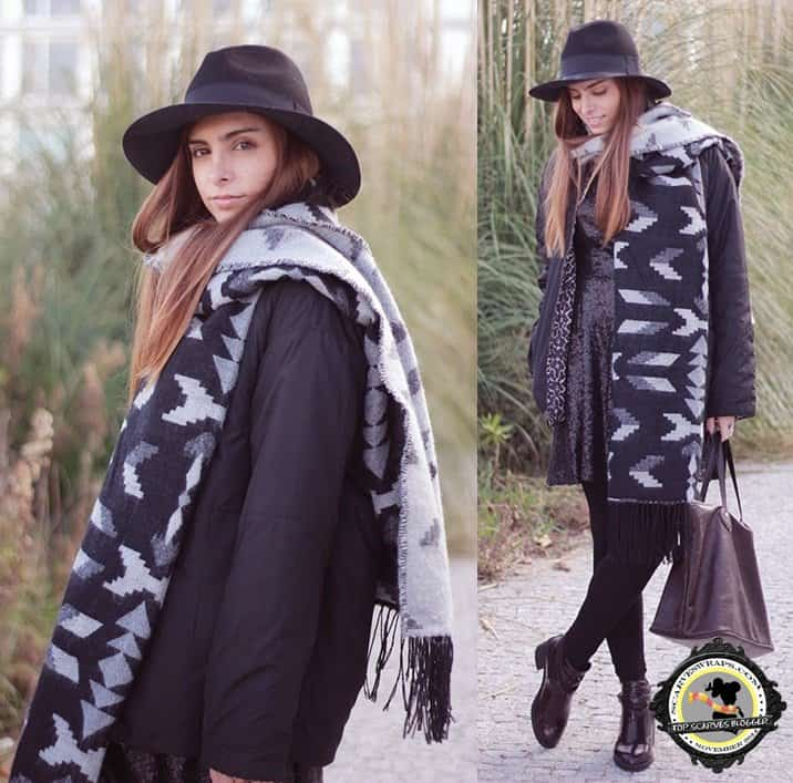 You can also give your patterned blanket wrap a different spin by mixing it with other textures like a sequined dress, a leather skirt, or a ribbed-knit sweater