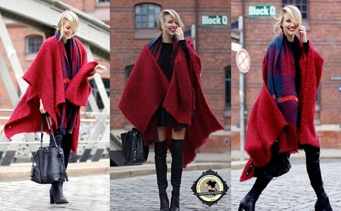 Wear a solid blanket scarf over a checkered wool scarf, a mini dress, and suede thigh-high boots