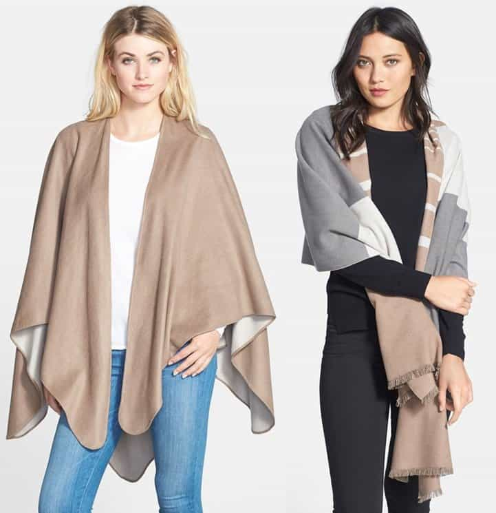 Chelsey Reversible Cape / Chelsey Striped Silk Wrap