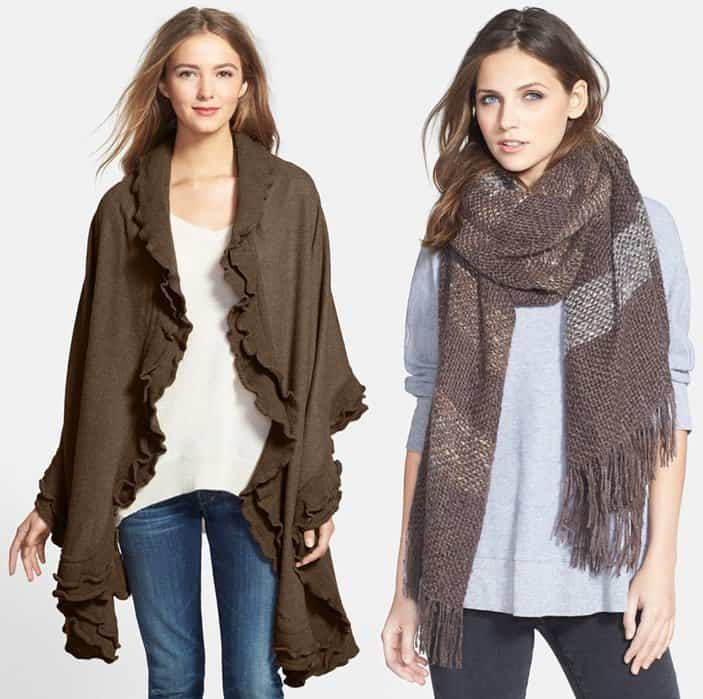 Double Ruffle Wool Wrap / Tonal Stripe Wrap