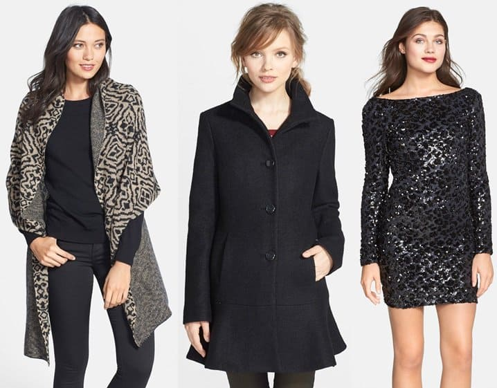 Inamorado Cashmere Wrap / Kensie Fit and Flare Coat / Dress the Population Lola Sequin Dress