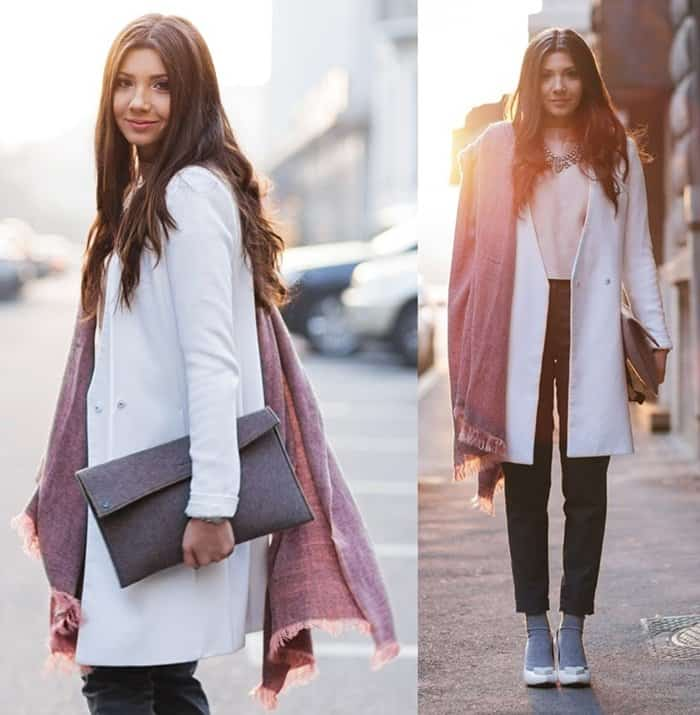 Larisa incorporates pastels into her winter style