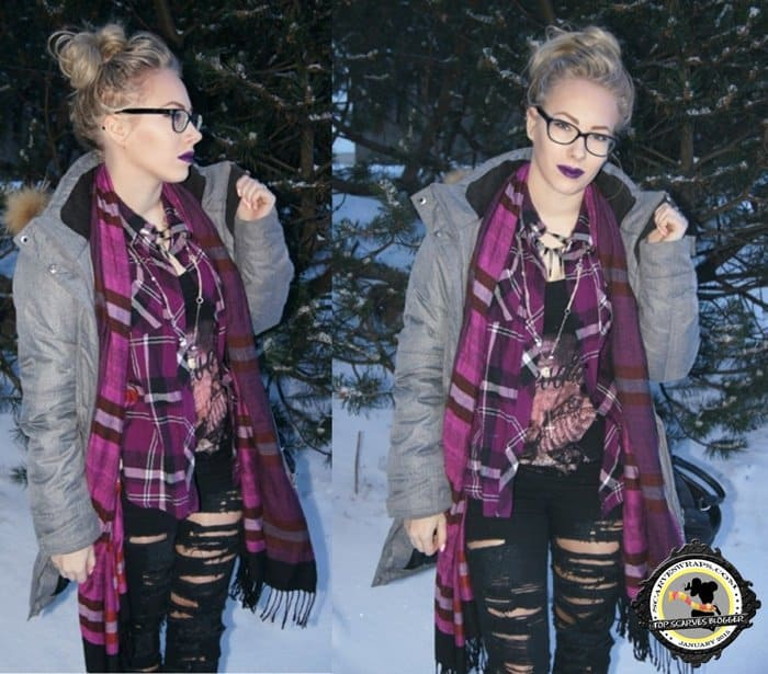 Johanna perfectly matched her purple plaid scarf and lip color
