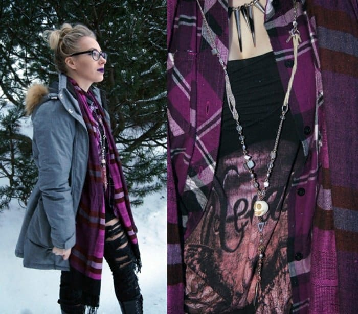 Johanna styled her purple scarf with ripped jeans