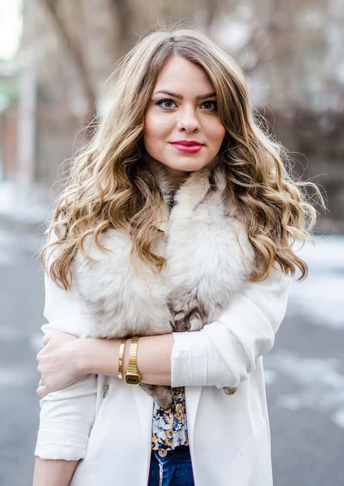 julie pink fur collar style blogger