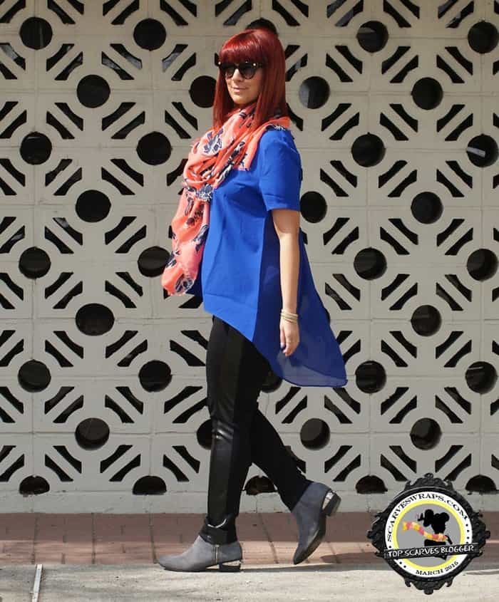 Jaclynn styled Ashley Stewart pants with a blue top, an Old Navy scarf, Sam Edelman boots, a Furla handbag, and sunglasses and jewelry by Freida Rothman
