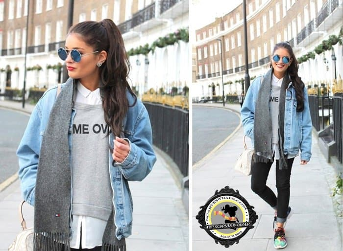 Catia styled a denim jacket with a gray wool scarf and colorful sneakers