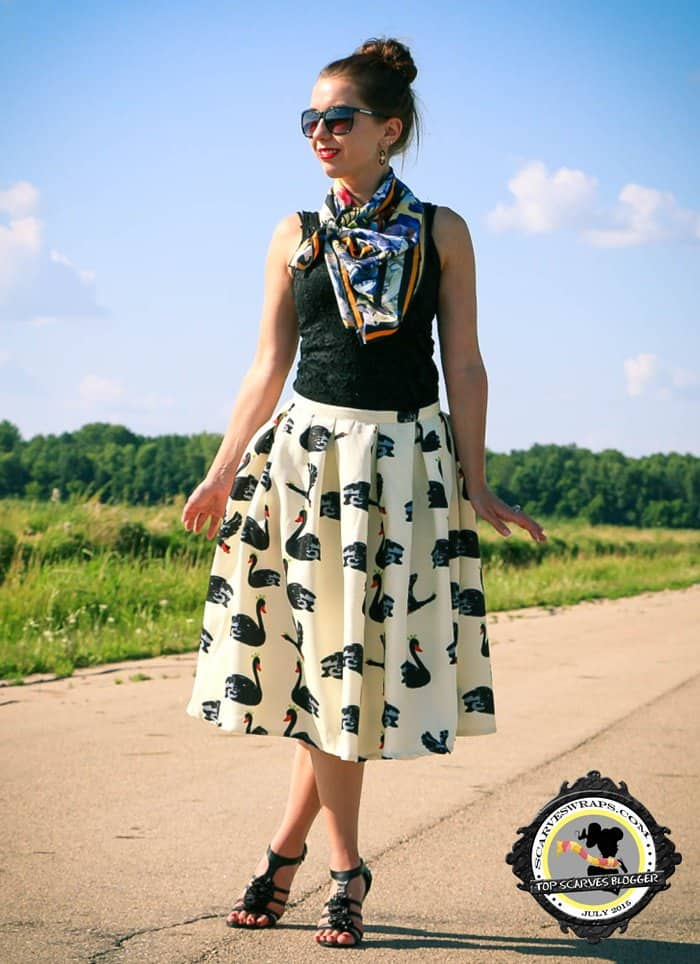 Lindsey styled a black swan skirt from Shein with a silk scarf from Demon TZ