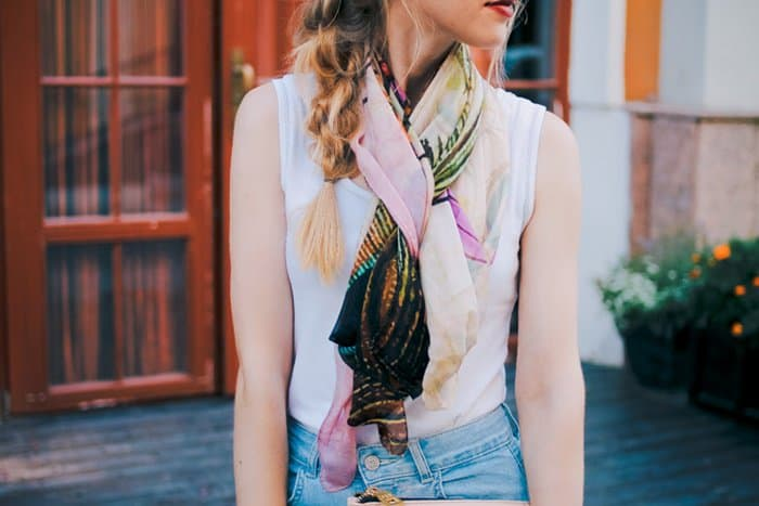 Anna shows how to wear a scarf with jeans