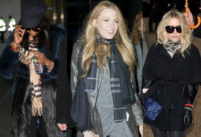 Celebrities wearing Burberry scarves