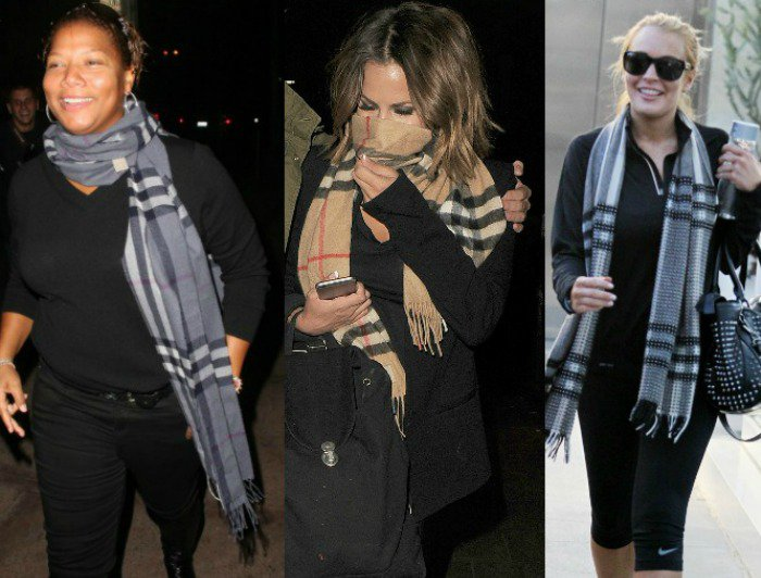 Queen Latifah, Carolyn Flack, and Lindsay Lohan wearing Burberry scarves