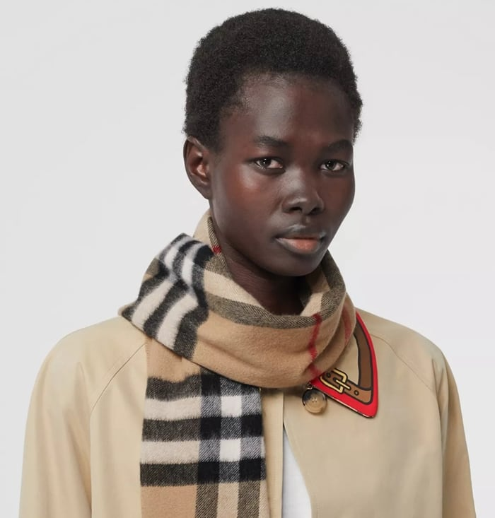 Burberry's classic cashmere scarf in check is made at a 200-year-old mill in the Scottish countryside